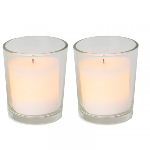 2 bougies LED cire blanche