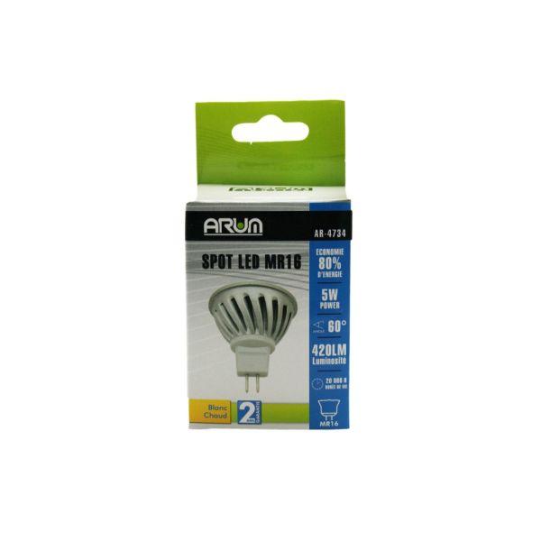 Spot LED COB MR16 5W Blanc chaud