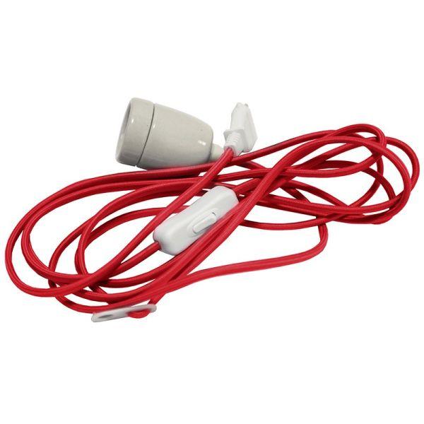 Cable rouge avec douille E27 et prise