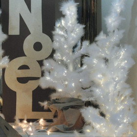 Sapin plume led blanche 80cm