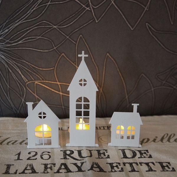 LED Candle city blanc