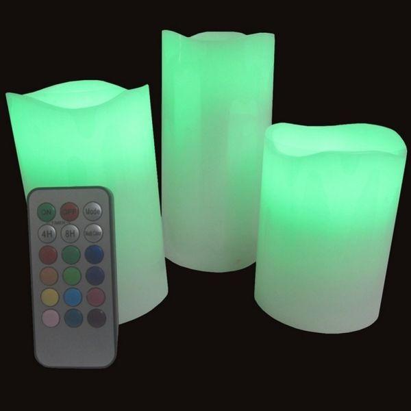 Pack de 3 Bougies Cire LED + Télécommande