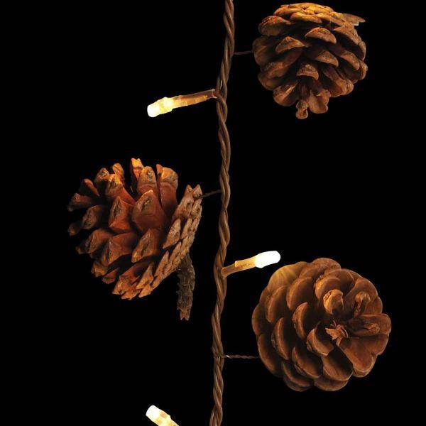 Guirlande déco pignes de pin marron