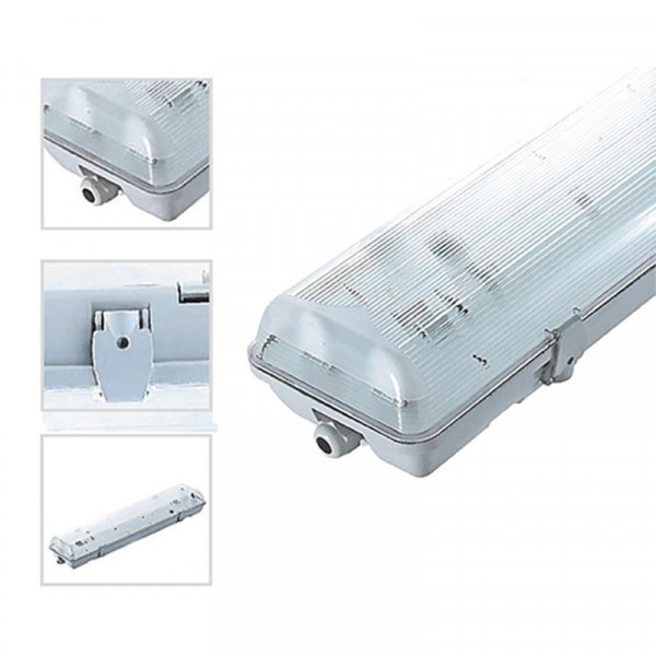 Estuche impermeable 1M20 para 2 tubos LED