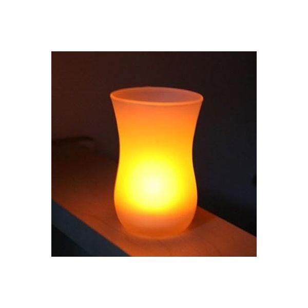 Led luz de las velas + sostenedor de vela de cristal