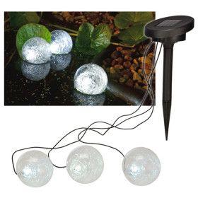 3 boules solaire étanche pour illumination plan d'eau