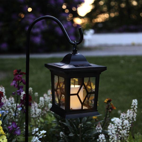 lanterne piquer d 39 ext rieur solaire led noir h37cm eclairage design. Black Bedroom Furniture Sets. Home Design Ideas