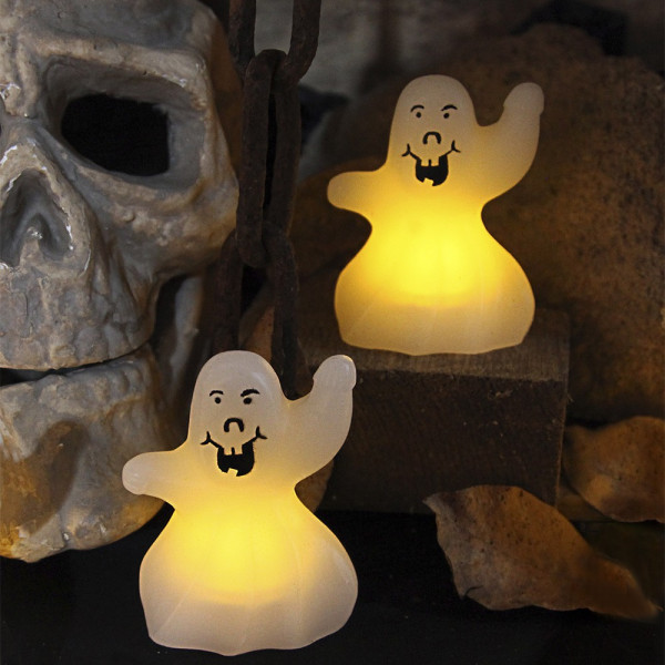 2 fantomes déco lumineux en cire