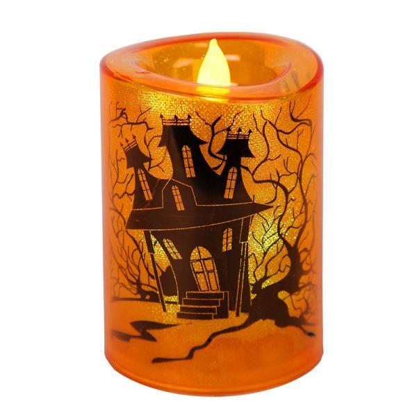 Bougie LED Orange Halloween