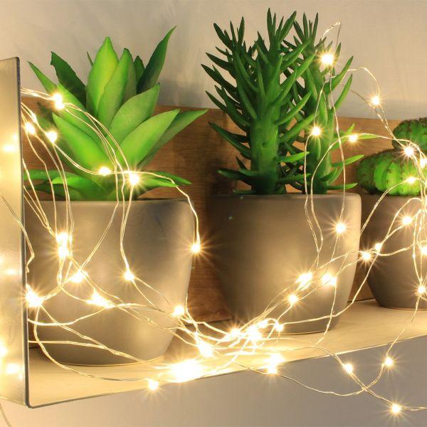 Guirnalda de 150 micro LED blanco cálido animados