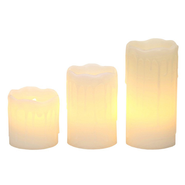 3 Bougies LED cire coulure