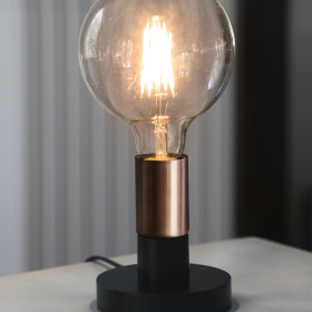 Lampe à poser E27 Duo Noir et Cuivre