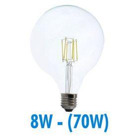 Ampoule Led 8W (70W) FILAMENT E27 Globe clair D125