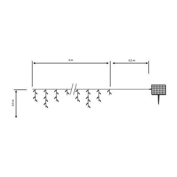 Garland estalactita, solar LED blanco puro - 6m