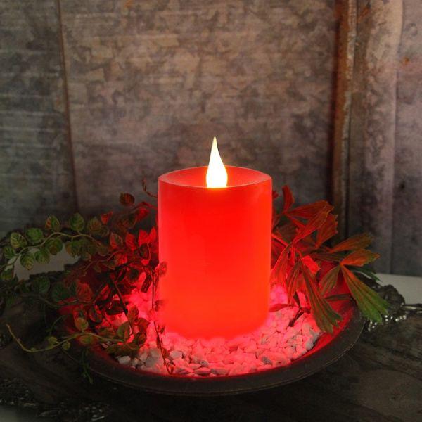 Bougie décorative led avec minuteur rouge