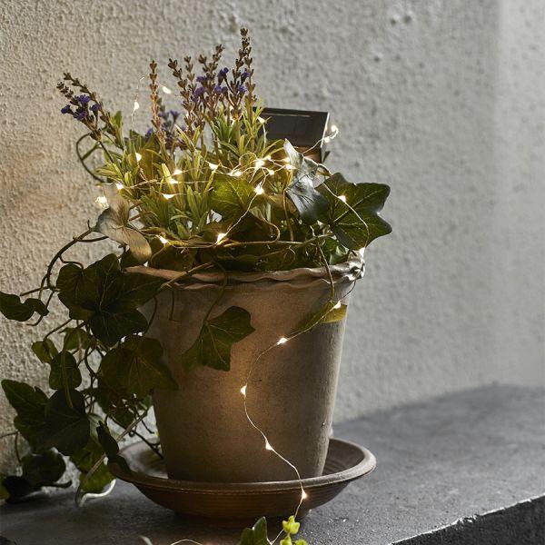 Guirlande solaire micro LED blanc chaud