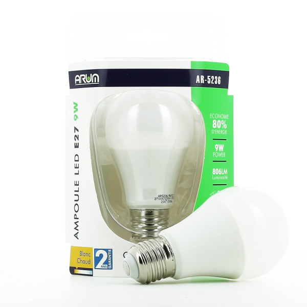Ampoule LED E27 9W Blanc chaud
