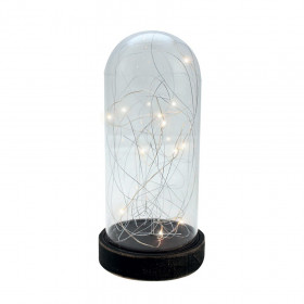 Cloche en verre micro LED 26cm Blanc chaud à piles.