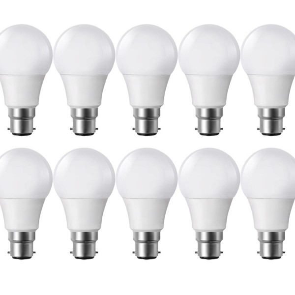 Lot de 10 Ampoules LED B22 9W eq 60W 806lm Blanc chaud 2700K