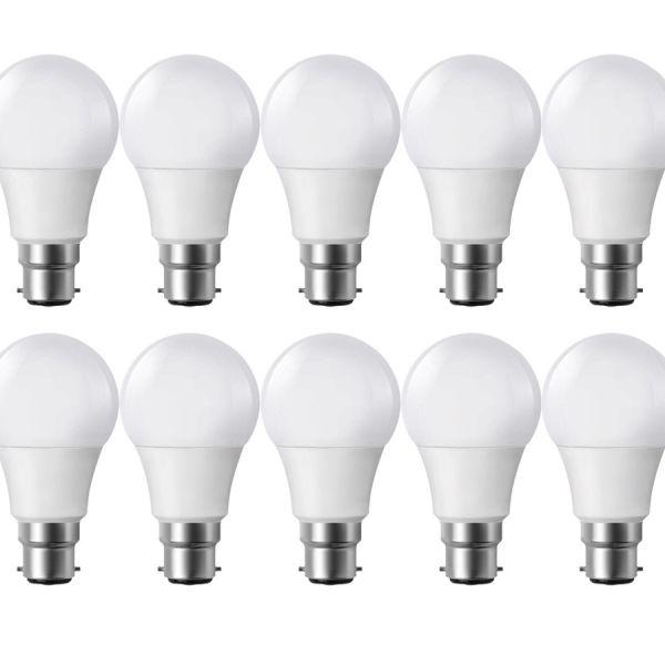 Lote de 10 Bombillas de luz LED B22 9W eq 60W 806lm Blanco cálido 2700K