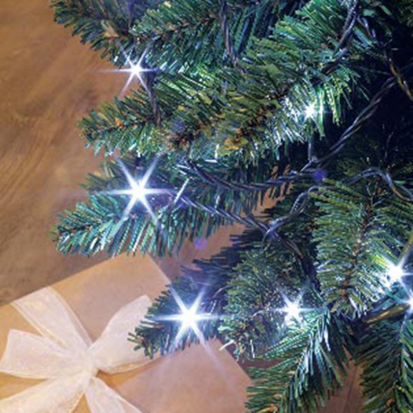 Guirlande flicker light 8m 104 LED blanc pur + 24 LED flash blanc pur