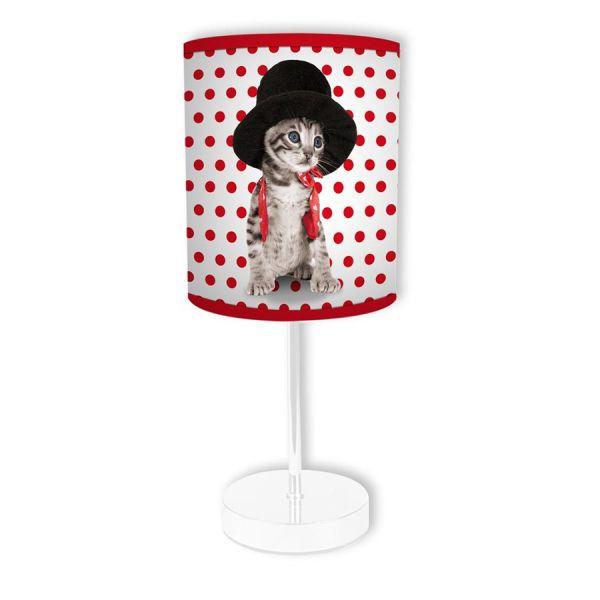 Lampe à poser cylindrique chat
