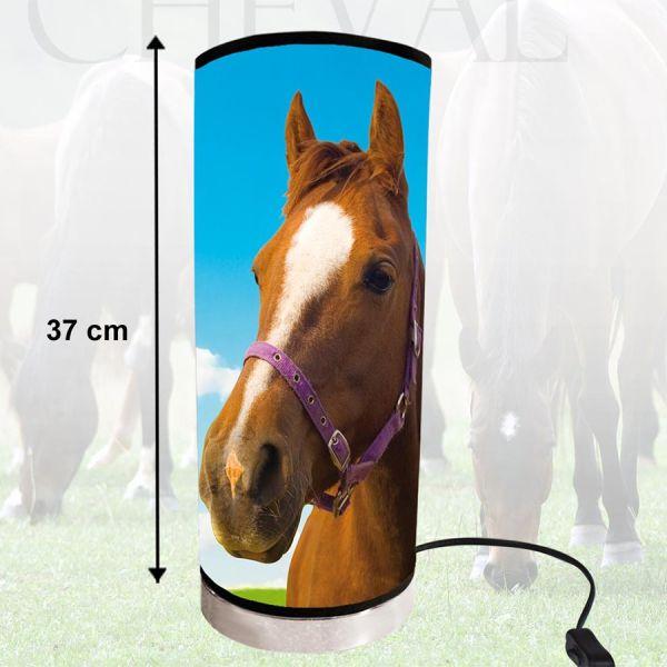 Lampe cylindrique portrait cheval