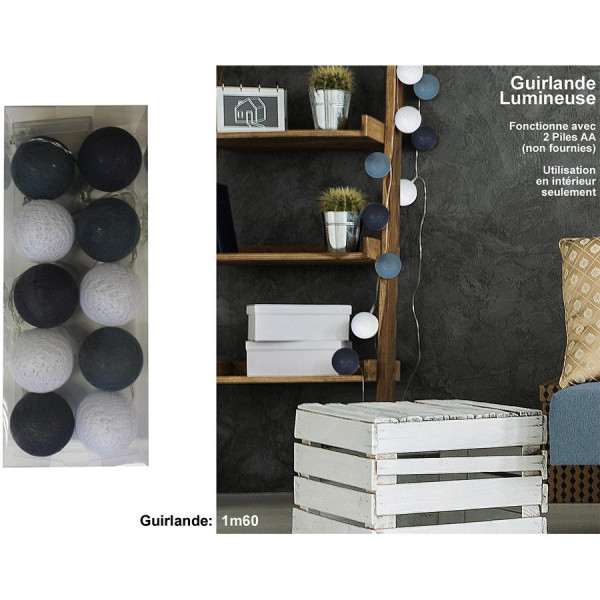Guirlande lumineuse 10 boules grises/blanches