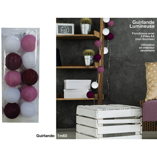 Guirlande lumineuse 10 boules violettes/blanches
