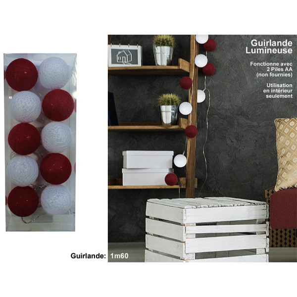 Guirlande lumineuse 10 boules rouges/blanches