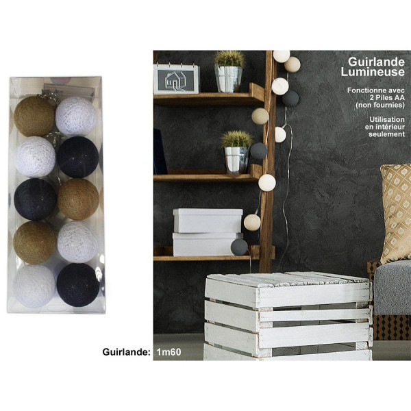 guirlande lumineuse 10 boules bleues marrons blanches. Black Bedroom Furniture Sets. Home Design Ideas