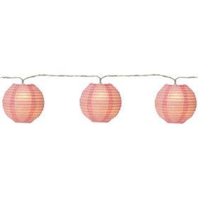 Guirlande 10 lanternes en papier rose LED