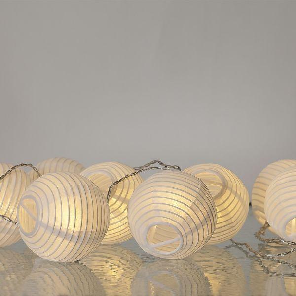 Guirlande lanterne blanche en papier LED