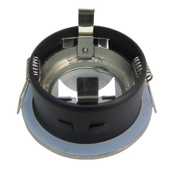 Support Spot LED étanche IP65 Fixe Rond BBC Acier brossé
