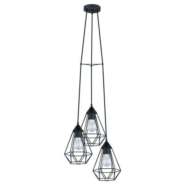 suspension 3 lumi res m tal noir 31cm tarbes. Black Bedroom Furniture Sets. Home Design Ideas