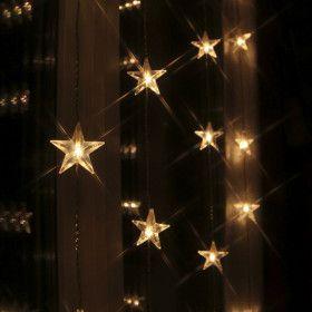 Rideau LED 30 étoiles blanc chaud