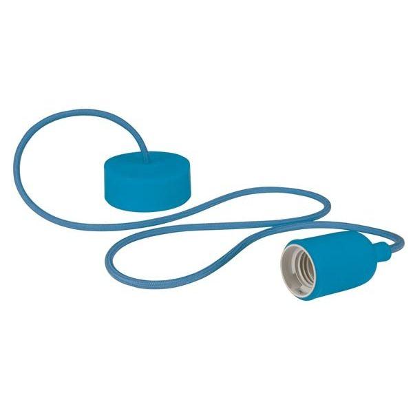 Suspension design luminaire en cordage bleu
