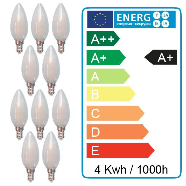 Lot de 10 ampoules E14 4W Filament FROST
