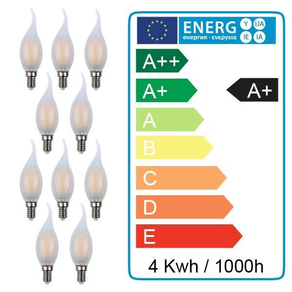Lot de 10 ampoules flamme E14 4W