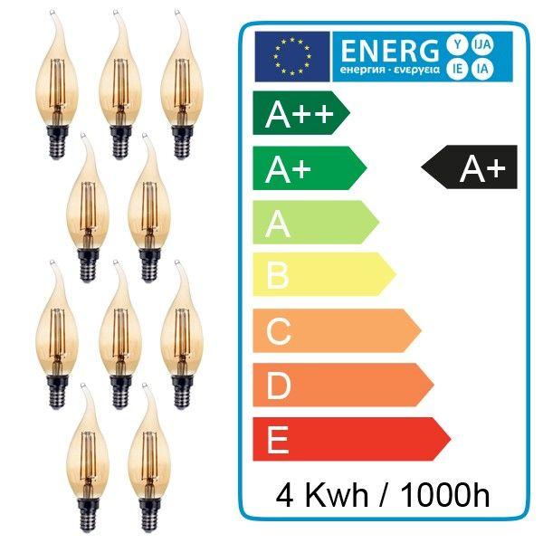 Lot de 10 ampoules E14 flamme ambrée 4W