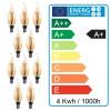 Lote de 10 bombillas E14 llama amber 4W
