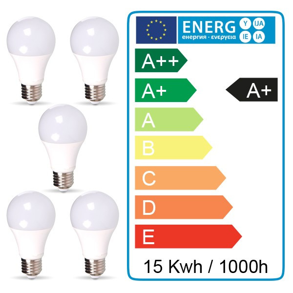 5 pcs pack - 10W LED A60 E27 Blanc naturel