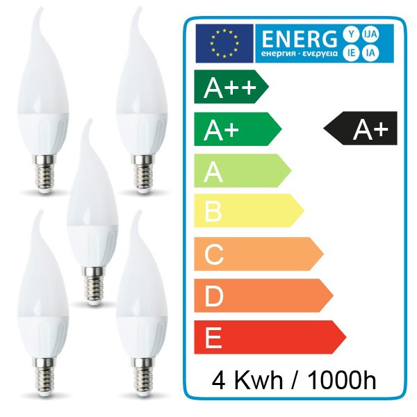 5 pcs - Ampoule LED E14 Flamme 4W Blanc chaud