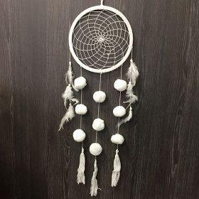 Attrapes reves blanc plumes et pompon blanc H57cm