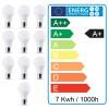 Lote de 10 Bombillas LED E27 7W eq 50W 490Lm