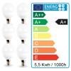 Lot de 6 ampoules E14 Mini Globe 5.5W 470 lumens