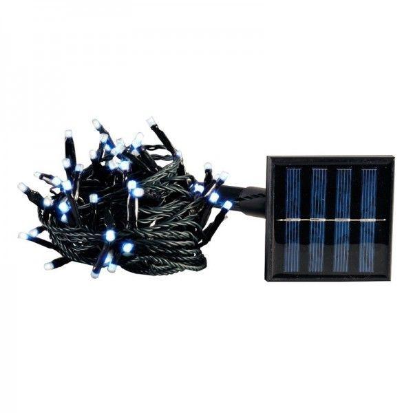 Guirlande solaire 100 LED blanc chaud 10m