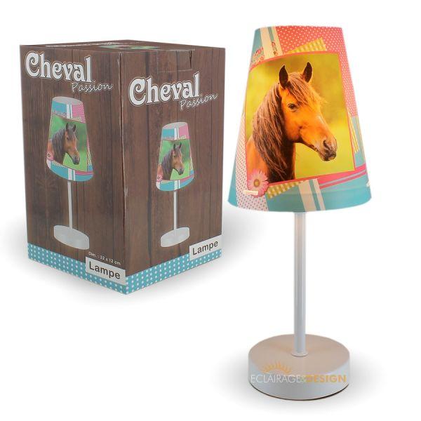 Lampe a poser conique cheval 32cm