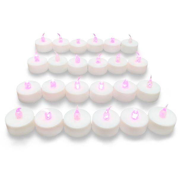 24 candele a led effetto fiamma fucsia rosa