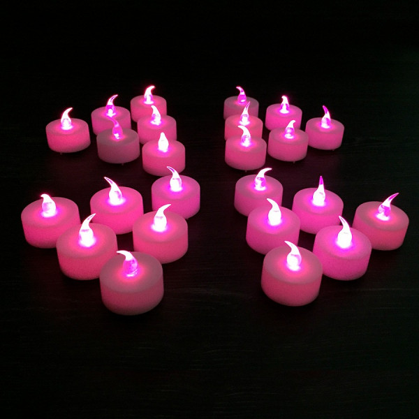 24 Fushia Led Candles efecto de llama rosa